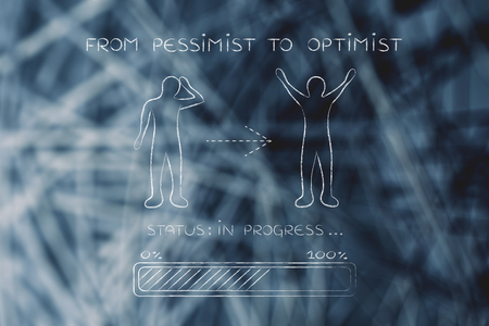from pessimist to optimist: person changing from a negative to a positive attitude, with progress bar loading