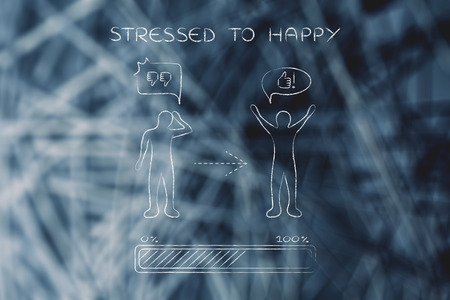 stressed to happy: person changing from a negative to a positive attitude with comic bubbles & progress bar loading