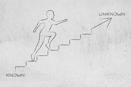 braver: known or unknown: metaphor of man climbing stairs in the direction of the braver choice, with captions Stock Photo