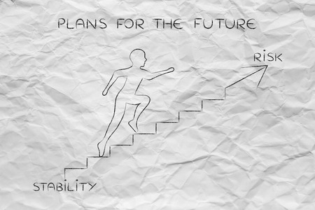 stability: stability or risk: metaphor of man climbing stairs fast and choosing to go for the braver choice, with captions Stock Photo