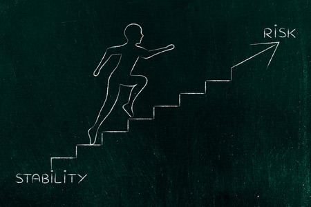 braver: stability or risk: metaphor of man climbing stairs fast and choosing to go for the braver choice, with captions Stock Photo