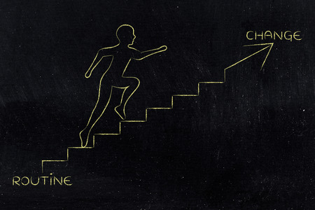 go for: routine or change: metaphor of man climbing stairs fast and choosing to go for the braver choice, with captions Stock Photo