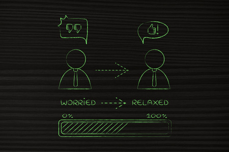 relaxed business man: from worried to relaxed: business man changing attitude with prograss bar loading (comic bubble version)