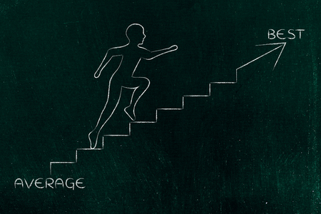 average to best: metaphor of man climbing stairs fast, with captions