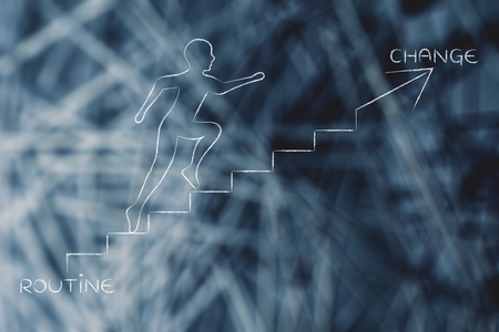 braver: routine or change: metaphor of man climbing stairs fast and choosing to go for the braver choice, with captions Stock Photo