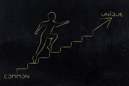 common goals: Common to unique: metaphor of man climbing stairs fast, with captions