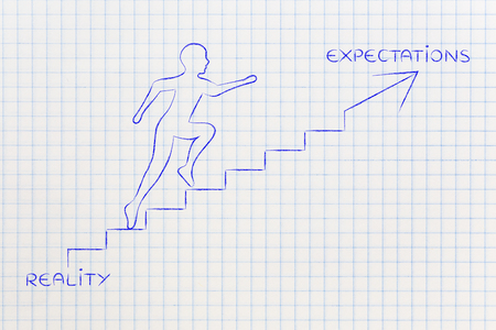 expectations: reality or expectations: metaphor of man climbing stairs fast, with captions