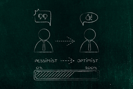 and an optimist: from pessimist to optimist: business man changing attitude with prograss bar loading (comic bubble version)