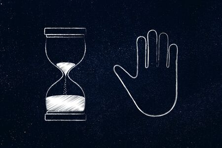 alt: hourglass and hand making a stop gesture, concept of waiting or stopping time