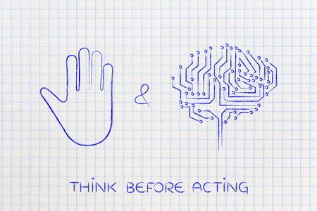 inventiveness: stop and think concept: hand making a stop gesture and electronic brain symbol of innovation Stock Photo