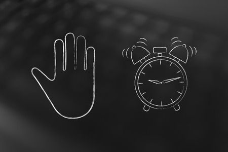 hand making a stop gesture and alarm ringing, concept of procrastinating or being late