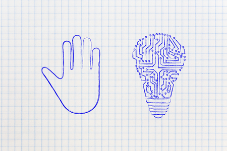 inventiveness: stop and think concept: hand making a stop gesture and electronic lightbulb symbol of innovative ideas Stock Photo