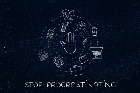 email lists: procrastination concept or being late: hand making a stop gesture surrounded by spinning office objects Stock Photo