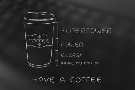 tumbler: coffee tumbler with energy level bar from initial motivation to power and superpower