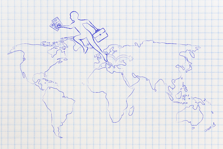 establishing: concept of establishing a company or invest abroad: business man jumpying across continents on map of the world (europe towards usa version)