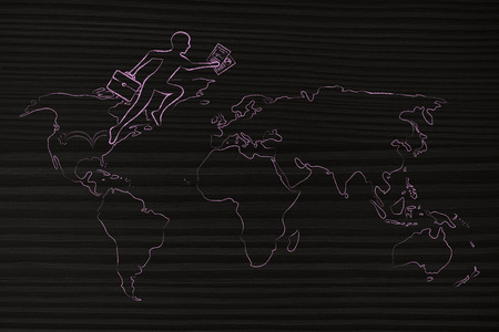 globetrotter: concept of establishing a company or invest abroad: business man jumpying across continents on map of the world (usa towards europe version) Stock Photo