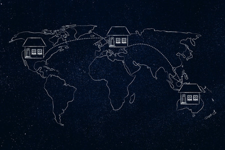 globetrotter: concet of moving to foreign countries and living as expat: house icon with arrows changing position on map of the world a few times Stock Photo