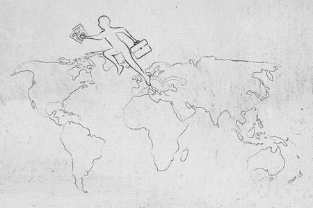 globetrotter: concept of establishing a company or invest abroad: business man jumpying across continents on map of the world (europe towards usa version)