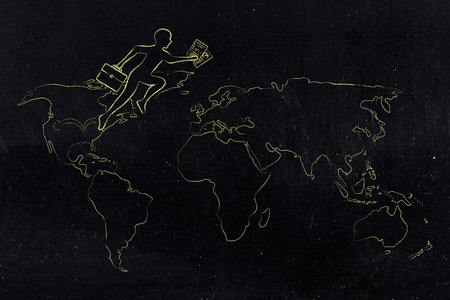 establishing: concept of establishing a company or invest abroad: business man jumpying across continents on map of the world (usa towards europe version) Stock Photo