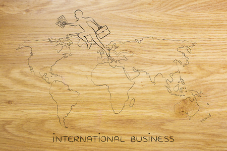 globetrotter: concept of establishing a company or invest abroad: business man jumpying across continents on map of the world Stock Photo