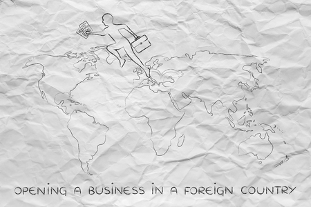 establishing: concept of establishing a company or invest abroad: business man jumpying across continents on map of the world Stock Photo