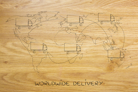 globetrotter: concet of movers or delivery service vehicle travelling across the globe: truck icon with arrows changing position on map of the world many times