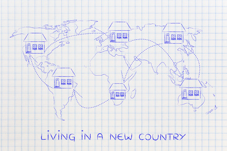 globetrotter: concet of moving to foreign countries and living as expat: house icon with arrows changing position on map of the world many times