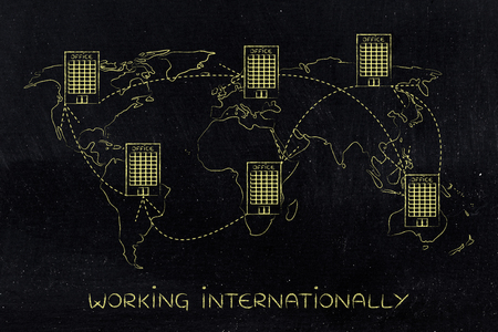 establishing: concept of establishing a multinational company or working abroad: group of linked international offices on map of the world