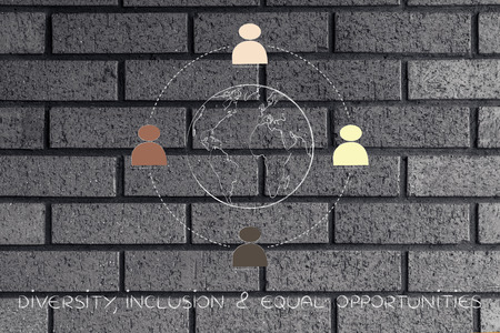 identidad cultural: diverso e inclusivo concepto de puesto de trabajo: equipo multi étnica que rodea el planeta tierra