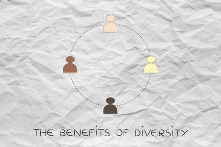 diverse and inclusive workplace concept: multi ethnic team (circle version) Stock Photo
