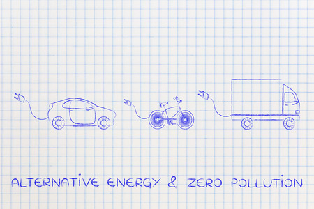 recharge: concept of electric and hybrid vehicles: car, bike and truck with big funny plug to recharge