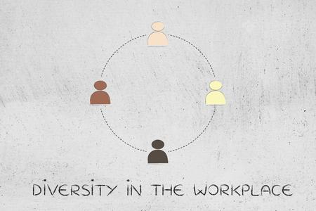 identidad cultural: diverse and inclusive workplace concept: multi ethnic team (circle version) Foto de archivo