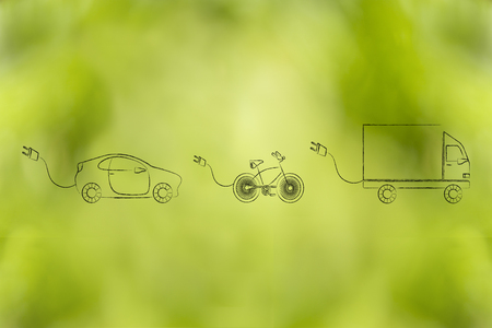concept of electric and hybrid vehicles: car, bike and truck with big funny plug to recharge