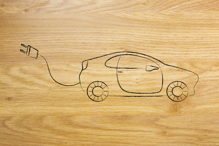recharge: concept of electric and hybrid cars: vehicle with big funny plug to recharge it