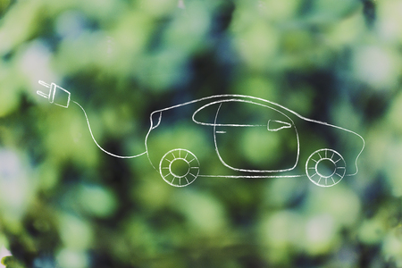 concept of electric and hybrid cars: vehicle with big funny plug to recharge it