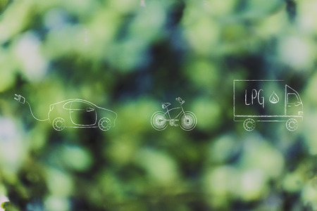 concept of zero emission vehicles: electric car, bike and lpg truck