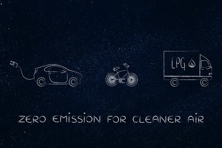 lpg: concept of zero emission vehicles: electric car, bike and lpg truck
