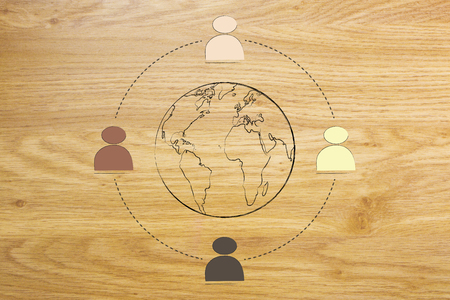 identidad cultural: diverse and inclusive workplace concept: multi ethnic team surrounding planet earth