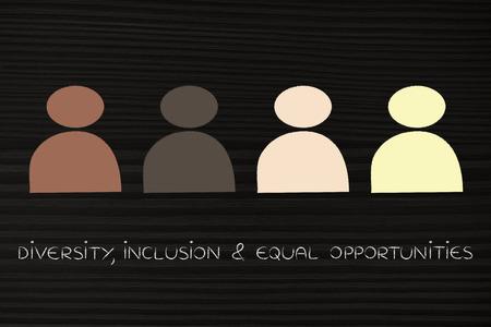 vielfältiges und integratives Arbeitsplatzkonzept: minimalistische Illustration mit multi-ethnischem Team