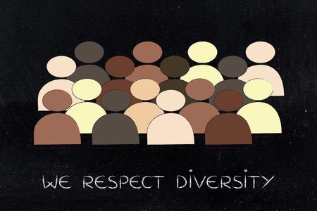 vielfältiges und integratives Arbeitsplatzkonzept: minimalistische Illustration mit multi ethnischem Team