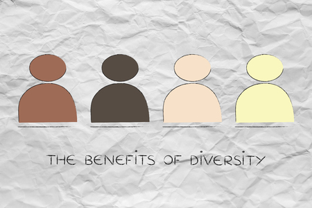 identidad cultural: diverso e inclusivo concepto de lugar de trabajo: Ilustración minimalista con el equipo multi étnica