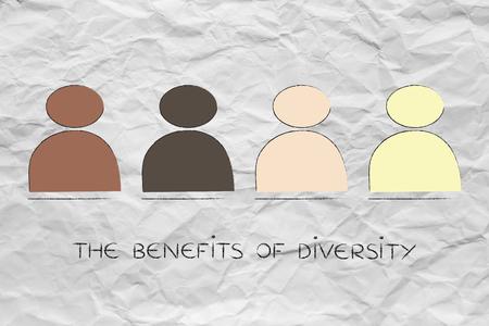 vielfältige und integrative Arbeitsplatzkonzept: minimalistische Darstellung mit multiethnischen Team
