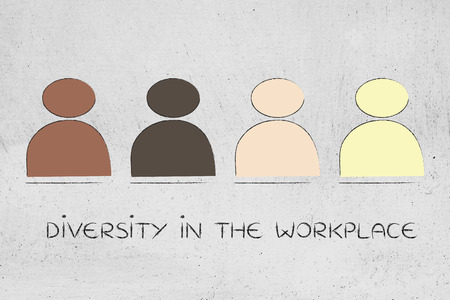 identidad cultural: diverse and inclusive workplace concept: minimalistic illustration with multi ethnic team