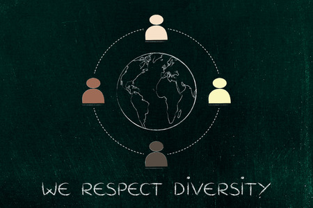 diverse and inclusive workplace concept: multi ethnic team surrounding planet earth
