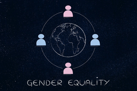 gender equality: gender equality and inclusive workplace concept: minimalistic illustration of a team with men and women surrounding the world Stock Photo