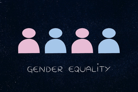 gender equality: gender equality and inclusive workplace concept: minimalistic illustration of a team with men and women