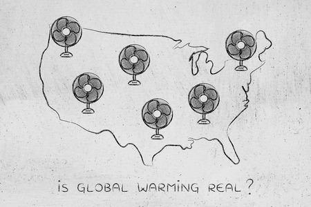 global warming concept: funny map of the usa with huge electric fans Stock Photo