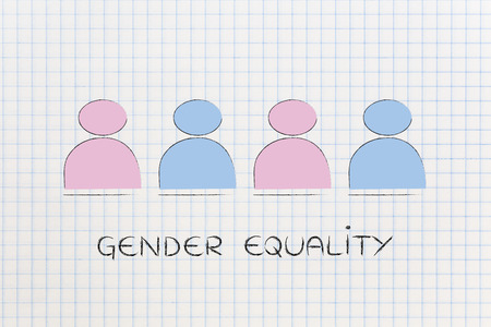 demographics: gender equality and inclusive workplace concept: minimalistic illustration of a team with men and women