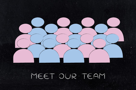 gender equality and inclusive workplace concept: minimalistic illustration of a team with men and women