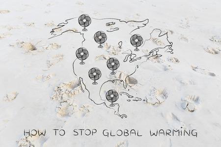 conceptual maps: concepto de calentamiento global: Mapa divertido de América del Norte con enormes ventiladores eléctricos